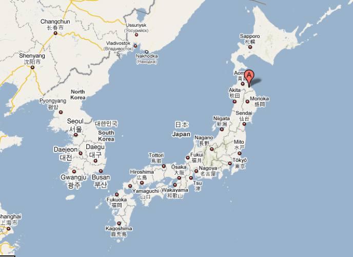 Cartina geografica con ubicazione della città di fujishima